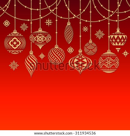 Nice Christmas Texture Christmas Baubles Snowflakes Stock Vector ...