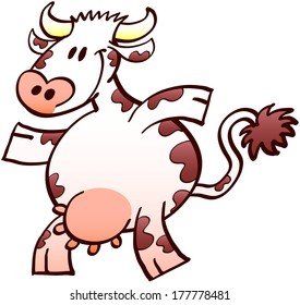 Nice chubby cow with long tail, brown spots and a big udder while walking and smiling animatedly