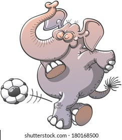 Nice chubby elephant bending its knees, raising its trunk and showing pride while kicking subtlety a soccer ball through a complicated maneuver consisting in passing its right leg behind its left one