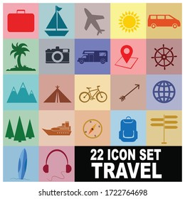 Nice and Colorful 22 Travel Icon Vector Set
