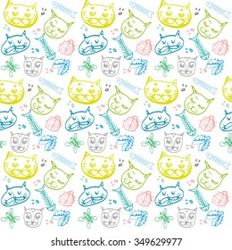 Nice colorful cat faces pattern