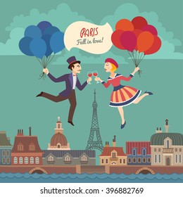 Nice Colorful Retro Card with Cartoon Drawn Lovers in Paris, flying with Red and Blue Balloons and White Sign, stylized as French National Flag