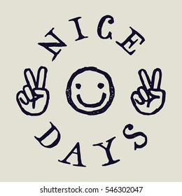 nice days smiley face drawing print.