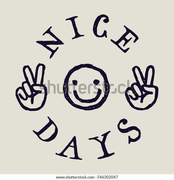 Image Vectorielle De Stock De Belles Journees Smiley Visage Dessin