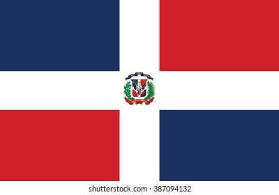Nice drawing of amazing horizontal Dominican Republic flag.
