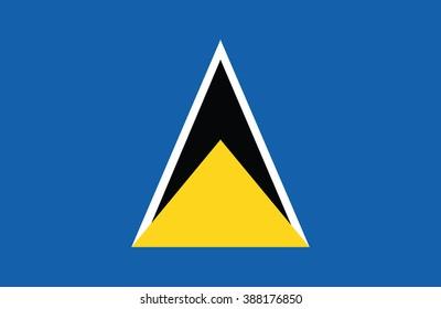 Nice drawing of amazing horizontal Saint Lucia flag.