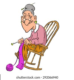 Nice elderly Grandma in a rocking chair.