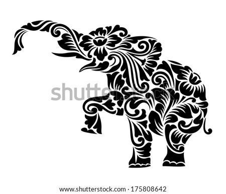 Nice Elephant Floral Ornament Decoration Vector Stock Vector