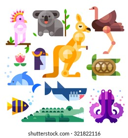 Nice flat Australian animals: kakadu, kangaroo,  parrot, koala, emu, ostrich, dolphin, penguin, turtle, shark, clown fish, crocodile, octopus. Flat vector illustration set.
