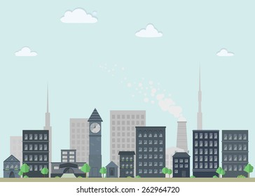 Nice flat cityscape with houses, towers and boiler-house in gray and blue colors. Abstract city background with buildings. Vector illustration.
