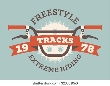 Nice flat vector illustration of BMX bike extreme riding. Extreme sports poster with a bicycle handlebars and some text. Cool label or print template.