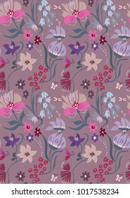 Nice floral pattern in beautiful flowers. Cute flourish design. Ditsy background with flowers. The elegant style for fashion prints.