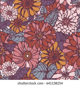 Nice flower vector pattern. Floral seamless pattern. Flowers of red, pink and yellow zinnia. For textile or wallpaper, wrapping paper background