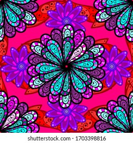 Nice flower vector pattern. Flowers on blue, magenta and black colors. Flat Flower Elements Design. Colour Spring Theme seamless pattern Background.