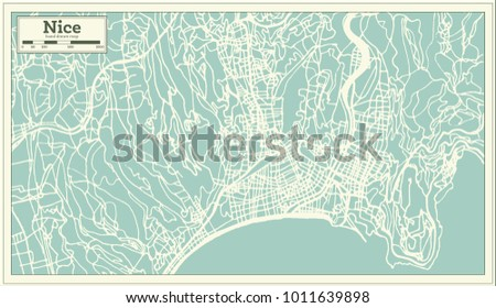 Nice France City Map Retro Style Stock Vector Royalty Free