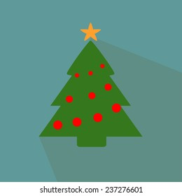 Nice and funny Christmas tree on the blue  background