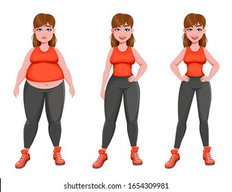 Nice girl before and after weight loss. Pretty woman cartoon character, stages of losing weight. Stock vector.