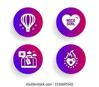 Nice girl, Travel luggage and Air balloon icons simple set. Halftone dots button. Heart flame sign. Love heart, Trip bag, Sky travelling. Love fire. Holidays set. Classic flat nice girl icon. Vector