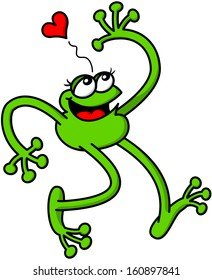 Nice green frog in love while walking, as if it was floating above the clouds, with a joyful expression, raising an arm, smiling enthusiastically and showing a red heart above its head