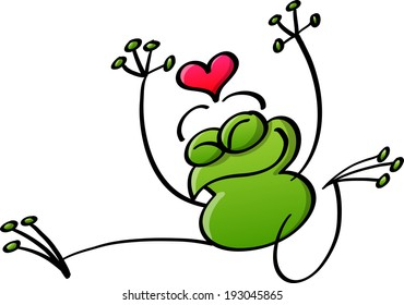 Nice green frog raising its arms and showing a red heart above its head while jumping out of joy and feeling in love