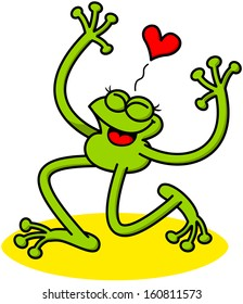 Nice green frog showing how much it is in love when kneeling, rising its arms, smiling enthusiastically, clenching its eyes and showing a red heart above its head
