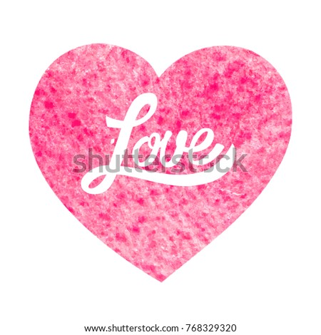 Nice greeting card valentines day lettering stock vector royalty nice greeting card for valentines day with lettering and heart silhouette on watercolor texture m4hsunfo
