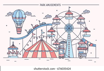 Nice horizontal banner of amusement park. Circus, ferris wheel, attractions, side view with aerostat in air. Colorful line art vector illustration.