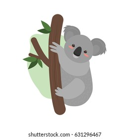 A nice koala is sitting on a tree. Vector illustration isolated on white background