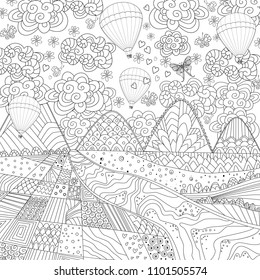 nice landscape with hot air balloons in the sky for your coloring book