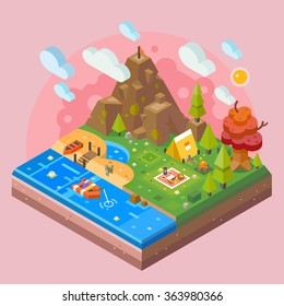 Nice nature tile isolated scenery with camping, river, mountain, tent, beach, fisherman guy fishing from the boat, bonfire in the forrest.  Flat vector stock isometric illustration.