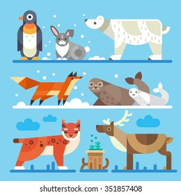 Nice north and arctic animals and birds: Imperial penguin, hare, polar white bear, fox, seals, lynx, bobcat. moss, reindeer. Flat vector stock illustration.