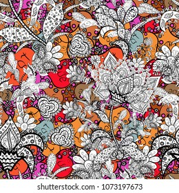 Nice pattern in the small flower. Flower composition. Vector pattern. -green, orange and yellow flowers. Floral background. Floral collage. Nature.