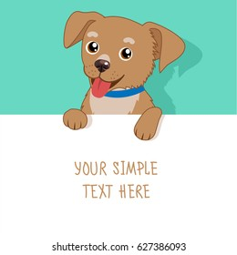 Nice Pet Vector. Cute Dog Holding A White Blank Board, Card Or Banner. Cartoon Puppy Above A Blank Sign.