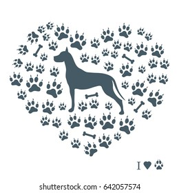 Nice picture of great dane silhouette on a background of dog tracks and bones in the form of heart on a white background.