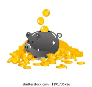 Nice piggy Bank with coins. The symbol accumulation. Vector flat illustration