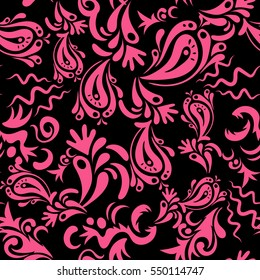 Nice pink and black hand-drawn seamless vector illustration. Elegant seamless pattern with floral and Mandala elements.