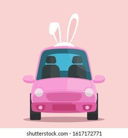 Nice pink car with bunny ears on roof. Holiday Easter car. Vector illustration, flat design element, cartoon style. Isolated background.