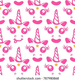 Nice pink unicorn with a star in his forehead. A charming seamless pattern for printing on children's clothing, wrapping paper, labels, dishes and other items.