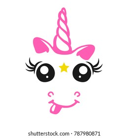 Nice pink unicorn with a star in his forehead. A charming illustration for printing on children's clothing, wrapping paper, labels, dishes and other items.
