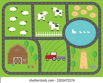 A nice poster with lovely farming landscapes. Play Mat with car truck for active children's games. Farm map with house, cows, sheep, pond, ducks, tractor,mill, haystack and ring road.