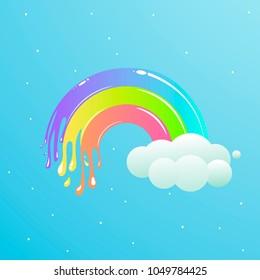 A nice rainbow with clouds against the sky with stars. Cute vector cartoon illustration