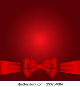 Nice red bow for holiday on the red background