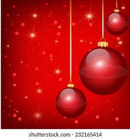 Nice red christmas balls on the red background