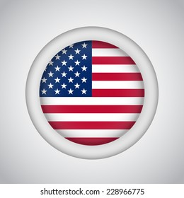 Nice round icon  of American flag