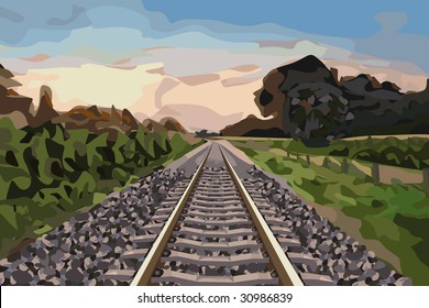 nice scenery with a rural railway track at sunset