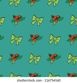 Nice seamless pattern with snowflakes and christmas tree decorations / New Year theme seamless pattern with bows and mistletoe