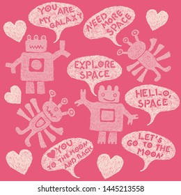 Nice set in pink colors with cute funny hand drawn aliens and space phrases   in speach bubbles. Lovely many-armed shaded Martians. Design for girls only:)
