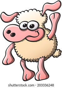 Nice sheep with bulging eyes and long ears while smiling, staring at you and raising an arm as for greeting and welcoming