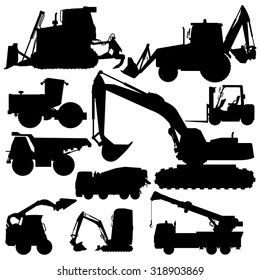 Nice silhouette Black and White Big Set of Ground Works Machines Vehicles Construction and Equipment for building Truck Digger Crane Forklift Small Bagger Mix Roller Extravator Transportation