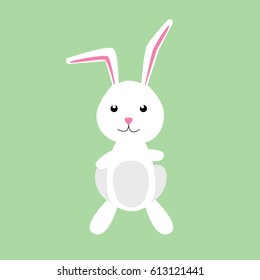 Nice simple rabbit isolated on green background. Vector illustration of happy bunny.